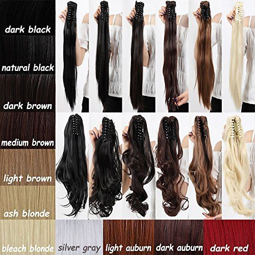 "LAY 18-21 Inches Long Straight Curly Ponytail Clip In Claw Pony tail Hair Extension Synthetic Hairpiece with a jaw/claw Clip Hairstyle(18"" Big Wave Medium Brown)"