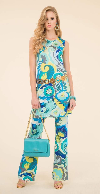 Printed dress and trousers, Ila bag, Disco belt, Nagi bracelet.