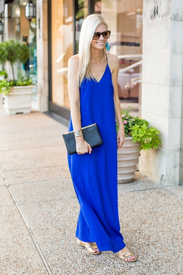 bright blue maxi dress