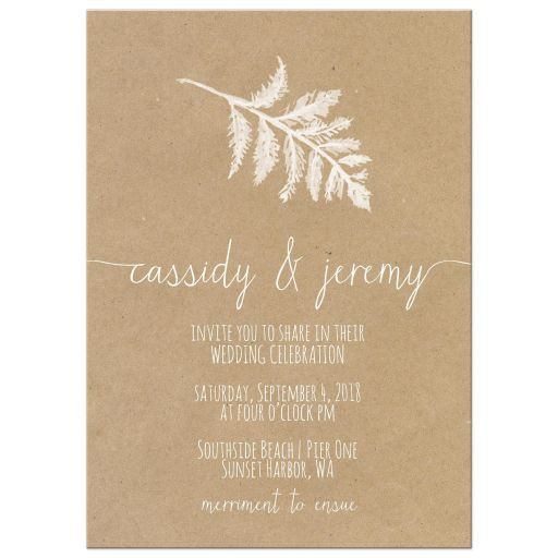 Fern leaf modern wedding invitations with a single white fern leaf on a kraft paper background. I have added super modern calligraphy for the names and creative handwritten fonts for the remainder of the wedding invitation text. Minimalist and modern, this fern leaf wedding invite would work well for botanical weddings, country chic weddings, rustic weddings and so much more.