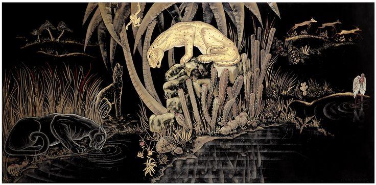 """Arts Décoratifs du XXème siècle Vente le Mardi 24 novembre JEAN DUNAND (1877-1942) """"PANTHÈRES S'ABREUVANT"""" ou """"TROIS PANTHÈRES"""", 1941. Grand panneau rectangulaire en laque, à décor d'une riche composition de jungle, présentant plusieurs scènes animalières. HAUT. 75 CM - LARG. 153 CM A large lacquer decorative panel, rich decoration of animal scenes on a jungle background.  Silver, golden and red lacquers. Signed at the bottom right. #DUNAND #AUCTION #ARTDECO"""
