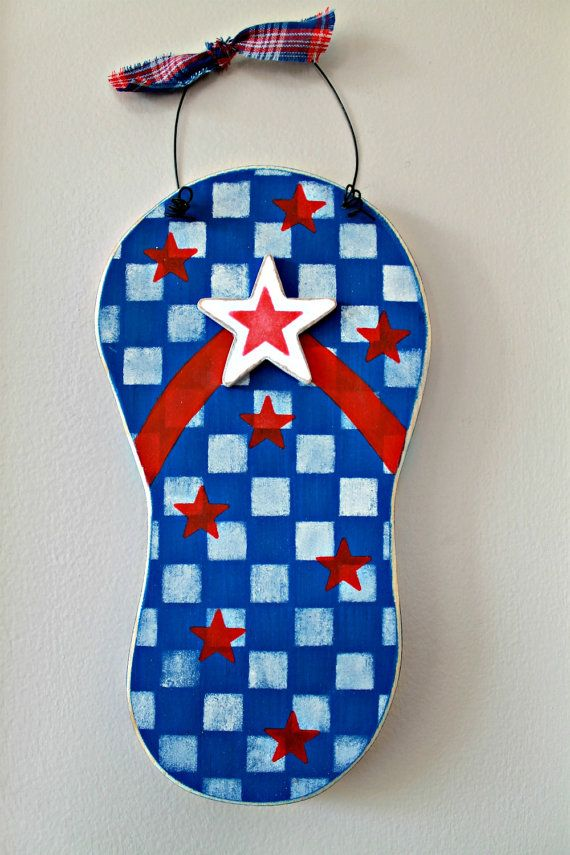 Wooden Bright Red White and Blue  Flip Flop Sign by lauraswoodshed, $10.00