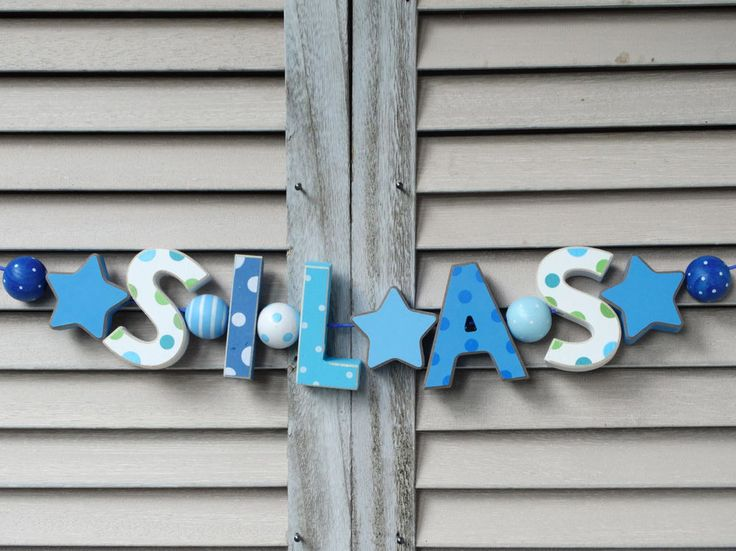 """SILAS"" WOODEN LETTERS DOOR NAME PLAYROOM SHOWER DECOR PERSONALIZED SHABBY CHIC  #NostalgieSpiel"