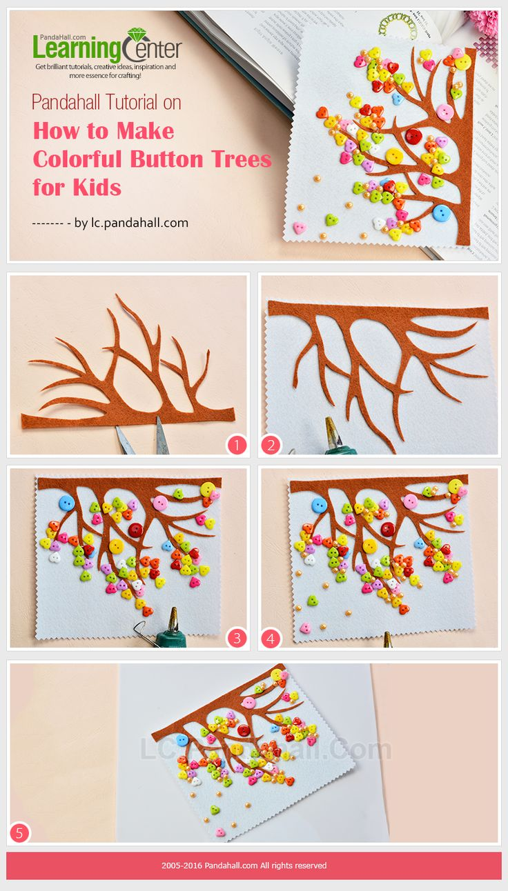Tutorial on How to Make Colorful Button Trees for Kids from LC.Pandahall.com
