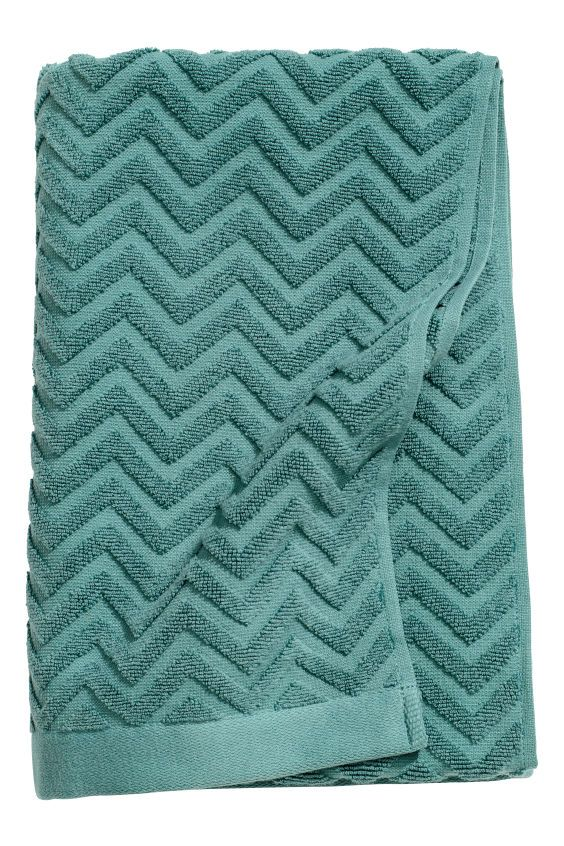 Jacquard-patterned bath towel - Dark turquoise - Home All | H&M CA 1