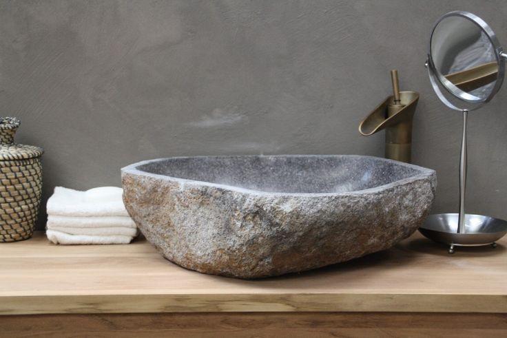 Natuursteen - Riviersteen Waskom | Lichtgrijs | No. 7912= 55.5 x 49 x 15 cm