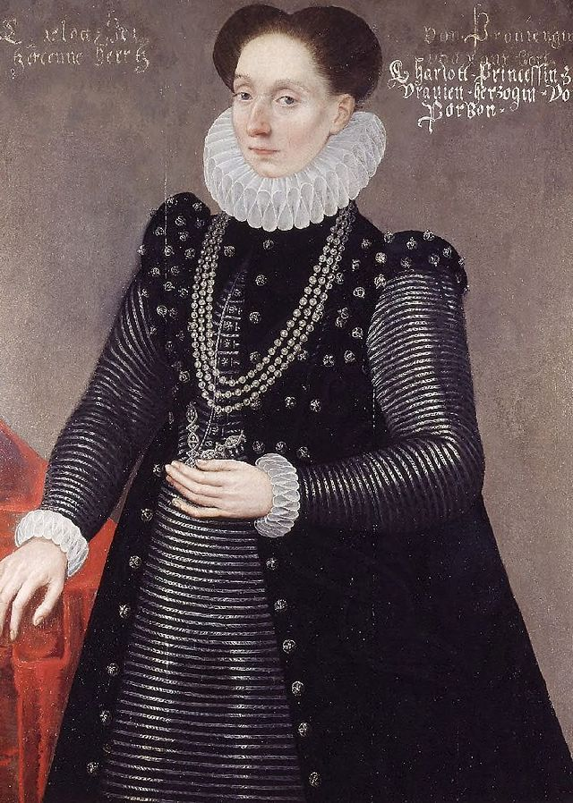 Charlotte of Bourbon (1546/1547 – 5 May 1582), was the fourth daughter of Louis, Duke of Montpensier and Jacqueline de Longwy, Countess of Bar-sur-Seine. She was the third wife of William the Silent, Prince of Orange, the main leader of the Dutch revolt against the Spanish.