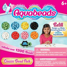 The Classic Bead Pack is a refill set with 1200 classic beads featuring 8 colors: black, white, light blue, light green, yellow, red, orange and pink. With colorful Classic Aquabeads, beautiful creations are simply a spray of water away! This set can be used with any Aquabeads play set. Refill set does not include layout tray, bead case and spray bottle.
