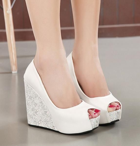 new white wedge heel bride wedding shoes blue peep toe high heel