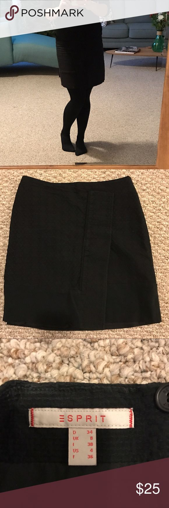 Esprit black skirt beautiful for any occasion This is a great skirt from esprit. Perfect for the office or a nice dinner. The size is actually a 0. I bought it in Germany and is says for 4, but I am in the US a 0 Esprit Skirts Mini