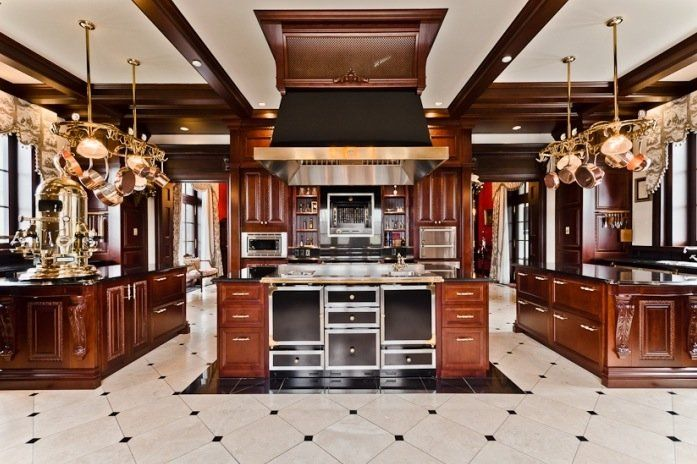 Celine Dion's Montreal private island mansion. The kitchen was recently renovated.