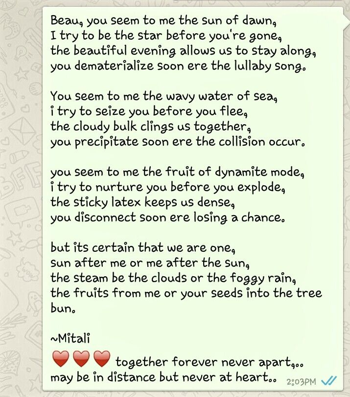 composed in such a lovely mood...  they all say it true.. whatever you do with love comes out amazing.. :) ♥ am improving as a poet.. need to let my words flow easily on the paper.. also wanna focus on writing poems without rhyme.. as everything makes sense at the end.. after all ♥
