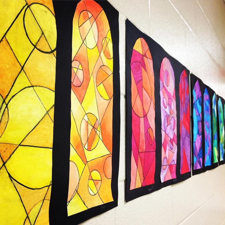 Rainbow of Faux Stained Glass Windows