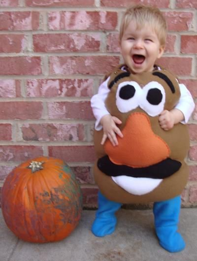 """Mr. Potato Head ... I used fleece for the whole costume and handstitched the face, using stuffing for the pop-out effect. Overall, I'm glad just to make a costume that my son is happy to be in. Plus, it makes excellent padding as he learns to walk."""