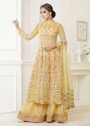Wedding Wear Beige Silk Embroidered Work Anarkali Suit