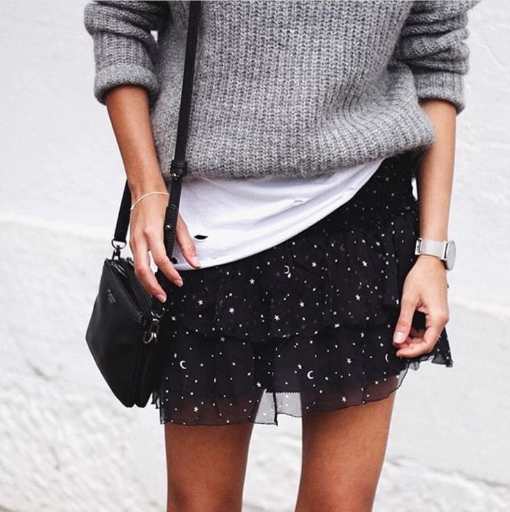 Slouchy sweater and flirty mini skirt