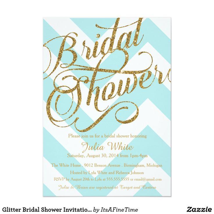 Glitter Bridal Shower Invitation, Tiffany Chevron Card