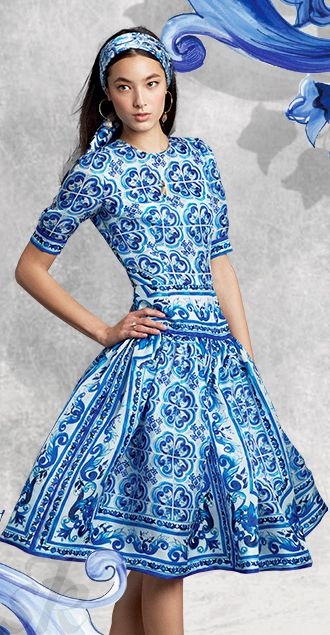 DOLCE & GABBANA SUMMER COCKTAIL DRESS BLUE MAJOLICA JUNE 2015