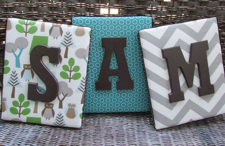 Wall Letters, Framed Monogram, Dwell Studio Owl Sky, 8x10, Painted Letters, Wood Letters,Monogram, Upholstered Letters, Fabric Letters. $21.99, via Etsy.