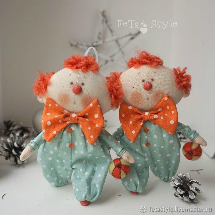 Купить Веснушка и Пончик Цирк Куклы текстильные Игрушки на Елку - маленькая кукла, кукла текстильная