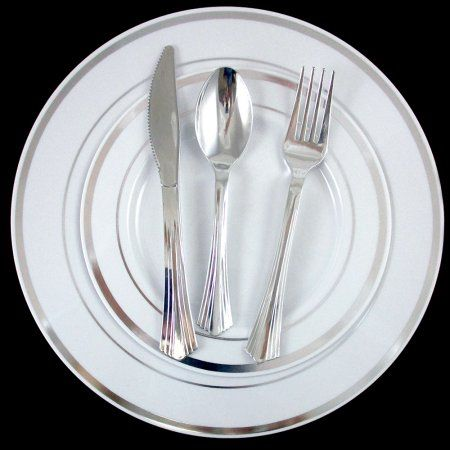Free Shipping. Buy 30 People Dinner Wedding Disposable Plastic Plates Party Silverware Silver Rim ! at Walmart.com