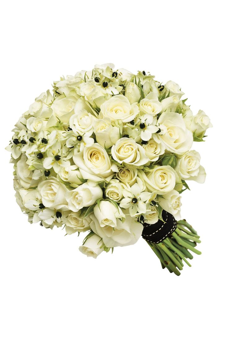 Monochrome Bridal Bouquet: Akito roses, spray roses and ornithogalum
