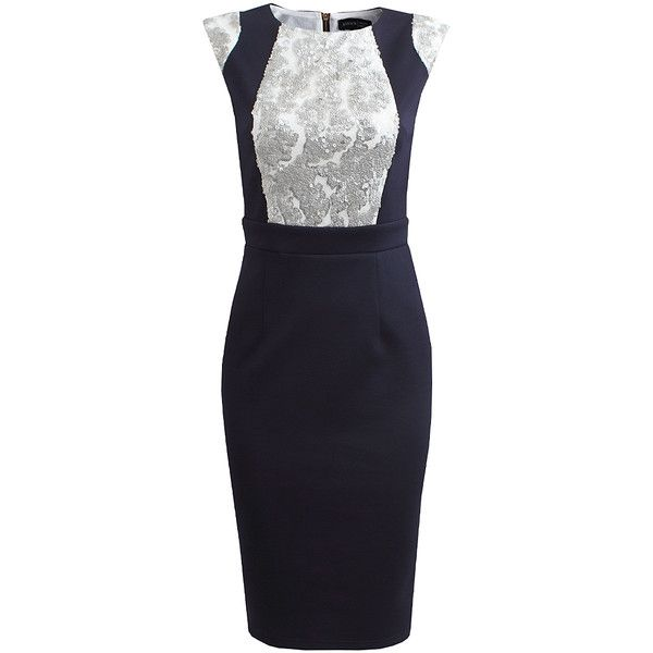 London Dress Company Navy & Silver Carol Dress ($53) ❤ liked on Polyvore featuring dresses, long sequin dress, long dresses, silver sequin dress, blue sequin dress and silver blue dress