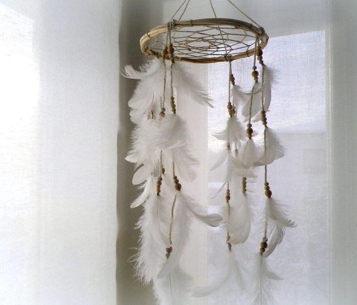 Baby mobile dream catcher white dreamcatcher mobile feather mobile rustic nursery mobile crib mobile, baby shower gift, tribal dream catcher by LigitasWorkshop on Etsy https://www.etsy.com/listing/505915499/baby-mobile-dream-catcher-white