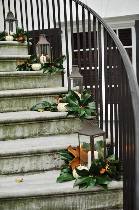simple holiday decor...magnolia leaves and lanterns.