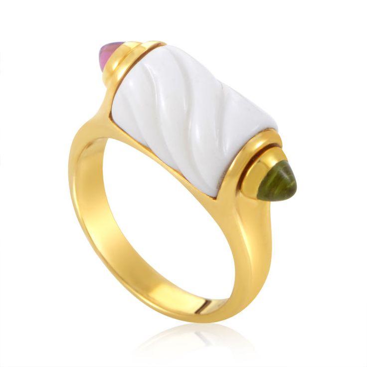 bvlgari 18k yellow gold porcelain gemstone ring