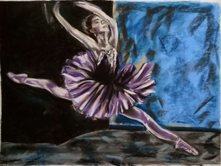 Buy Dance violet, Pastel drawing by Anna  Sasim on Artfinder. Discover original art for sale, paintings, prints from independent artists.Soft pastel art on Pastelmat paper,  woman drawings, woman paintings #ballerina #dancer
