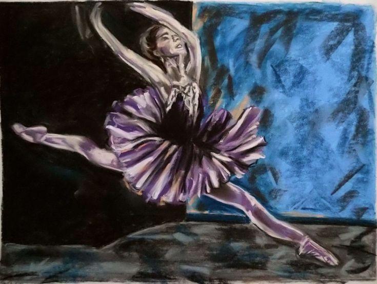 Buy Dance violet, Pastel drawing by Anna  Sasim on Artfinder. Discover original art for sale, paintings, prints from independent artists.Soft pastel art on Pastelmat paper,  woman drawings, woman paintings #ballerina #dancer
