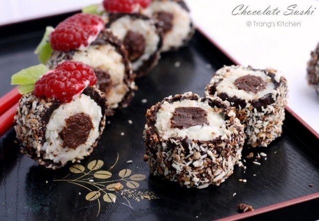 Chocolate Sushi  #dessert #sushi