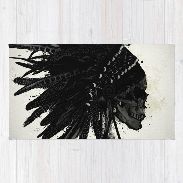 #indian #skull #war #warrior #bonnet #warbonnet #feather #spiritual #arrows #spatter #ink #native #american #rug #homedecor