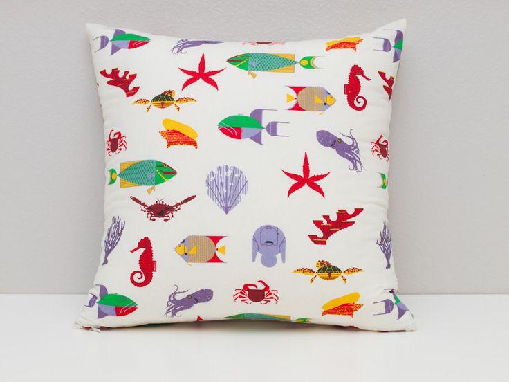 Mare creatura cuscino coperchio 16 tessuto di Charley Harper