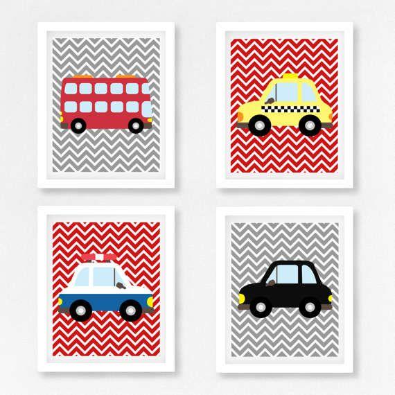 Transport Nursery décor, transport enfants Decor, les garçons voiture Wall Art, gravures de véhicule de pépinière, nouveau bébé garçon cadeau, bébé garçon pépinière Art