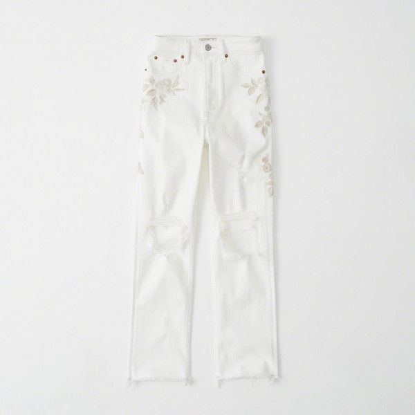Abercrombie & Fitch High-Rise Ankle Straight Jeans (2.515 UYU) ❤ liked on Polyvore featuring jeans, white with embroidery, ripped jeans, light wash ripped jeans, high rise white jeans, white distressed jeans and high waisted distressed jeans