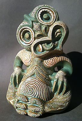 In New Zealand, however, tiki is usually applied to the human figure carved in greenstone as a neck ornament. The full name is hei-tiki.