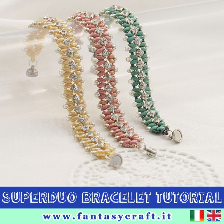 superduos beads bracelet with rhinestones and drops beads, step by step picture and beading instruction, suitable for beginners. Italian and english download! #fantasycraft