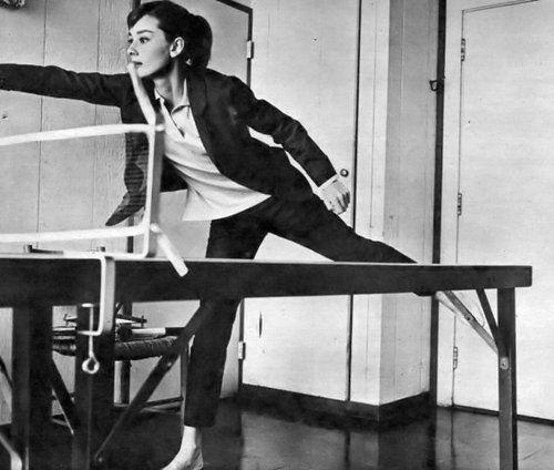 Audrey playing ping pong, I wish I could look this good while playing ping pong