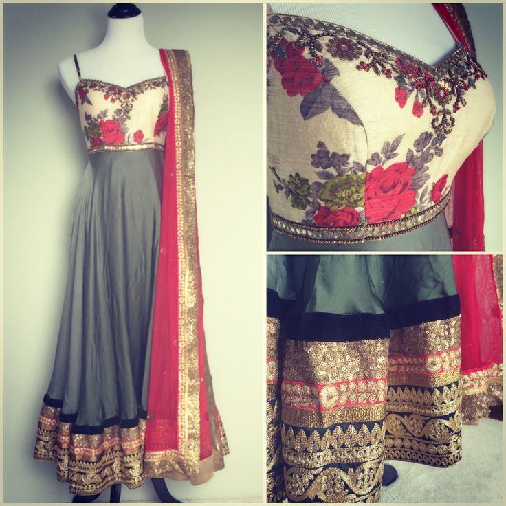 Roses,  blue gray, maroon anarkali
