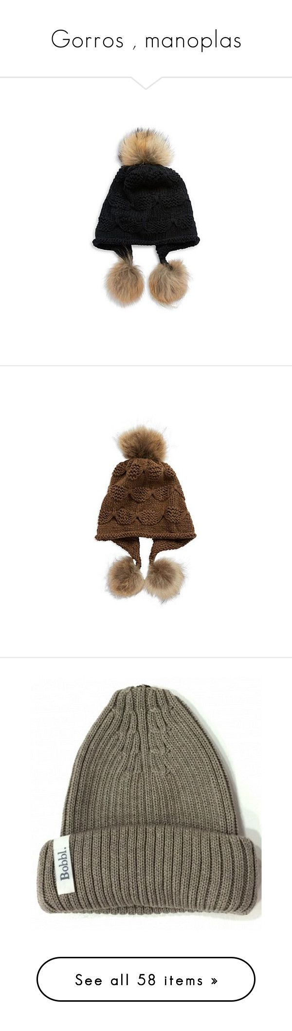 """Gorros , manoplas"" by yblacasa on Polyvore featuring accessories, hats, black, american hats, pom pom ski hat, fur pom pom cap, fur pom pom hat, watch cap, brown y cap hats"