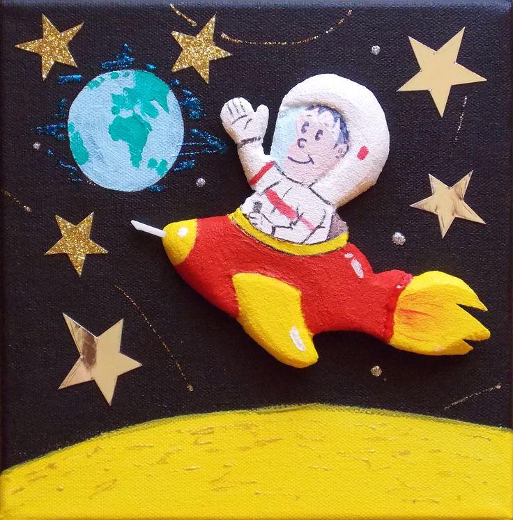 """Toile chambre enfant/bébé """"L'astronaute"""" : Décoration pour enfants par les-toiles-scintillantes"""