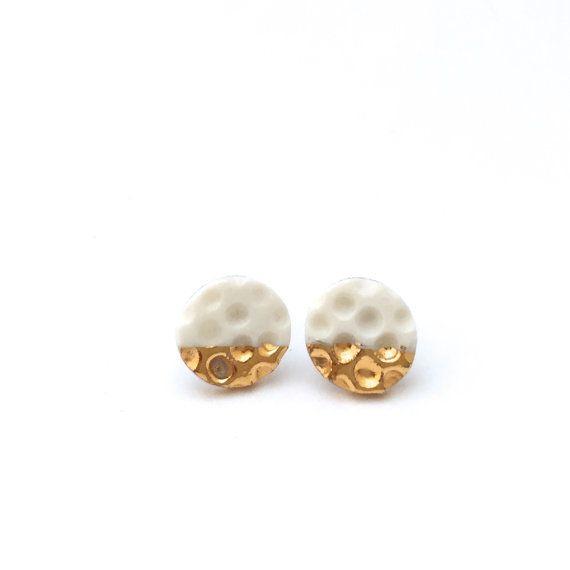 White gold Polka Dots Porcelain earrings Ceramic by OeiCeramics