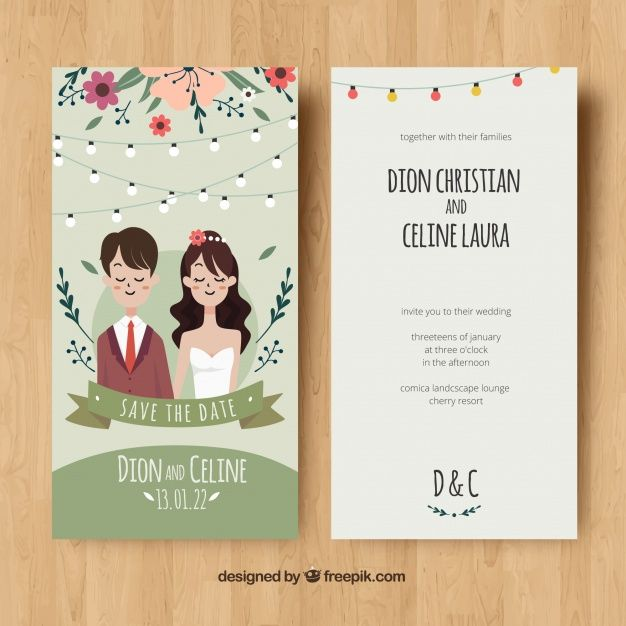 Wedding Card Invitation With Couple And Flowers Download