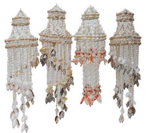 Set of 4 x Shell Chandeliers / Hangings - beach house decor - indoor/outdoor
