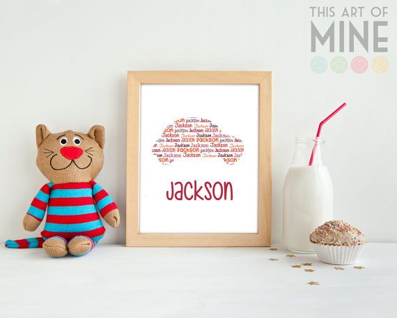 Another classic boy's favourite. A personalised car name print can be teamed with other transport themed items, or use it for a splash of colour in a grey or black & white themed room.