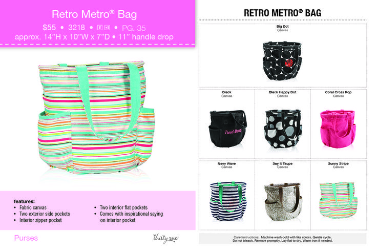Thirty-One retro metro Bags ! Check all the New Summer Catalog out @ my website:  www.mythirtyone.com/307721 Thanks!