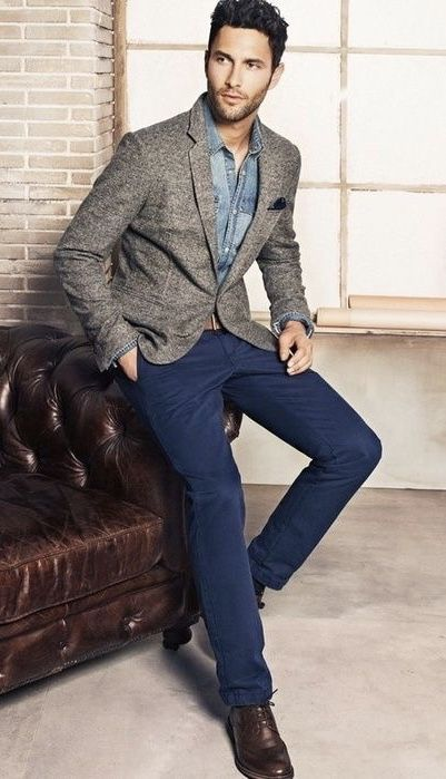 60d12393eb52 Business casual with a gray blazer with a denim shirt navy pocket square  navy chinos brown
