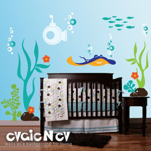 Children wall decals underwater theme with ray submarine seaweed and fish pluw010r
